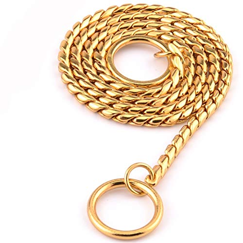 CSMZ Halsbanden en Leads for kleine honden 7 Grootte Goud Zilver Roestvrij staal P Chain Snake Chain harnas Twisted Ketting Pet Collar Dog Chain (Color : Gold, Size : 5mm 70cm)