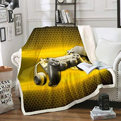 Gamer Coperta in pile di flanella, decorativa calda per bambini, per videogiochi, per letto/divano/divano, design geometrico, 228,6 x 228,6 cm