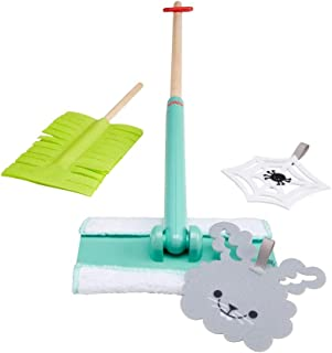 Fisher-Price Clean-up and Dust Set - 5-Piece Pretend Play Gift Set Featuring Real Wood for...