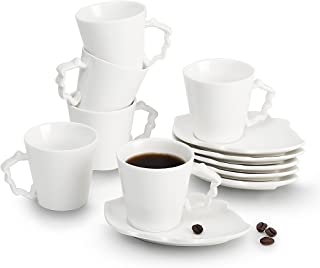 Porcelain Ceramics Italian Turkish Mini Espresso Coffee Cups Leaves Series 2 oz Cups & Saucers Set of 6,Sweejar Home