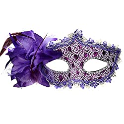 Purple Masquerade Party mask Venetian of Realistic Silicone