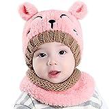 EDOTON Cappello Knit e Set di Sciarpe Orso del Bambino Berretto Beanie Bambini Invernale Caldo Cappello per Cappelli da Bambino 1-3 Anni (Rosa)