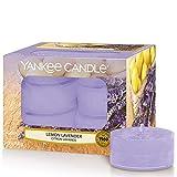 Yankee Candle Limón y Lavanda Velas de Té Aromáticas Paquete de 12 Unidades, Violeta, 8.9x8.5x6.3 cm