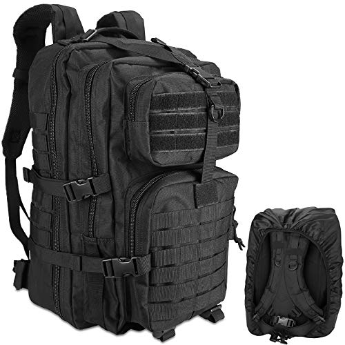 ProCase Military Tactical Backpack, 48L Large Rucksack 3 Day Outdoor Army Assault Molle Pack Go Bag Backpacks with Rain Cover -Black