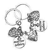 OTOTEC Paire de Meilleures amies Boussole Creuse Split cœur brisé Porte-clés bagues Ensemble Porte clés pour Femmes Cadeaux