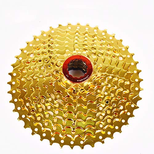 OULATUWB Golden 9 Speed Cassette 11-42T, Suitable for MTB Bike Road Bike Climbing (Size : 9S-42T)