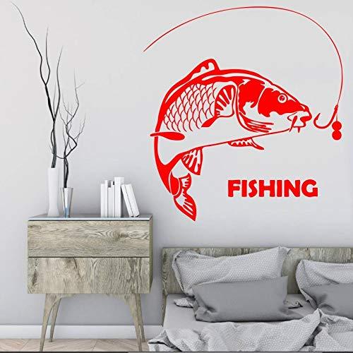 Ajcwhml Big Fish Fishing Fischer wasserdicht wandmalerei Wohnzimmer Dekoration Fisch Linie ene wandmalerei Aufkleber 57x68 cm