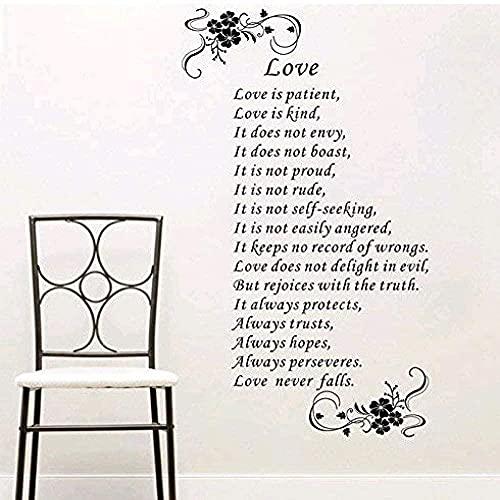 Decoración de pared Amor es paciente Inglés Poesía Flor Vine Patrón de Decoración para el hogar Pegatinas de pared 60 x 110 cm