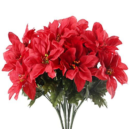 XHXSTORE 4pcs Weihnachtsstern künstlich Plastikblumen Kunstblumen Weihnachten Künstliche Poinsettie Weihnachtsstern Pflanze Künstlich für Weihnachten Tischdeko Balkon Draußen Dekoration Rot
