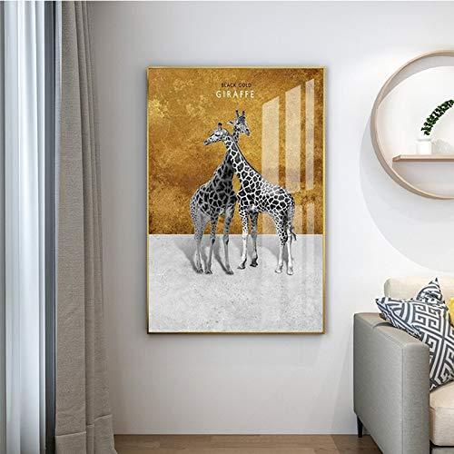 Geiqianjiumai kunst hert giraf dier afbeelding canvas schilderij wand kunst woonkamer slaapkamer moderne decoratie zonder lijst schilderij