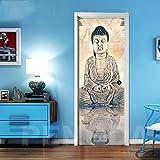 ZYHCHH Pegatinas de puerta 3D DIY Papel autoadhesivo Impermeable Removible Arte religioso budista abstracto Vinilo Arte Murales Carteles etiqueta calcomanía Decoración del Hogar dormitorio d 77x200cm