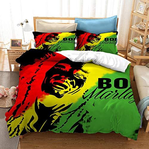 KIrSv 3D Impreso Vintage Classic Rock Reggae Wailing Wailers Bob Marley Patrón Funda nórdica y Funda de Almohada,Ropa de Cama para niñosTextiles para el hogar-150x200cm(3pcs) _2