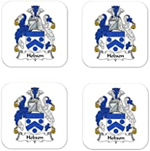 Hobson Family Crest Square Coasters Coat of Arms Coasters - Set of 4