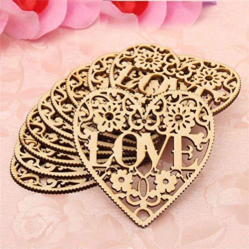 Decorazioni da appendere 10PCS amore cuore in legno abbellimenti artigianato matrimonio San Valentino, da appendere all' albero di Natale ornamento 8x 8cm
