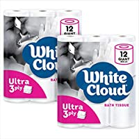 2-Pack White Cloud Ultra Soft & Thick 3-Ply Toilet Paper