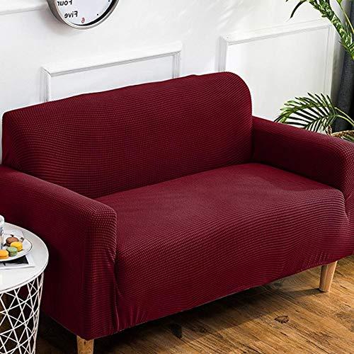 DANNEIL Fundas De Sofa,Funda De Sofá Elástica De Color Puro, Gruesos Granos De Maíz De Punto Adecuados para El Sofá De La Sala-Wine Red_4-Seater 230-290cm