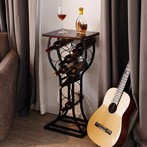 BENOSS Industrial Wine Table Display Rack 11 Bottles, Wine Storage Organizer Stand Bar, Freestanding Wine Rack, Metal and Solid Furniture Decor Holds, 15W x 12D x 33.25H inch (Vintage Brown)
