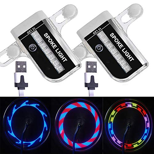 Solhice 2 Tire Pack Rechargeable LED Bike Wheel Lights, Waterproof Bicycle Spoke Lights, 30 Patterns Cycling Tire Lights for Kids Adults Night Riding