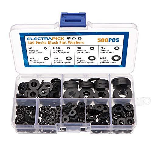 electrapick 500 piezas Arandela de nylon plana Arandela espaciadora redonda negra para...