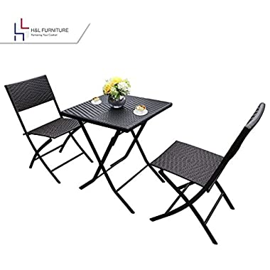 H&L Patio Resin Rattan Steel Folding Bistro Set, Parma Style, All Weather Resistant Resin Wicker, 3 PCS Set of Foldable Table and Chairs, Color Espresso Brown, 1 Year Warranty