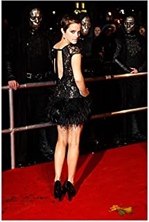 Emma Watson Back Shot In Black Feather Mini Dress At Harry Potter Deathly Hallows Part 1 Premiere 8 x 10 Inch Photo