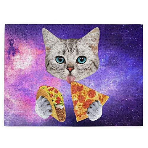 DOWNN Rompecabezas 3D para adultos y adolescentes 520 piezas rompecabezas galaxia espacio gato comer pizza juguetes educativos DIY regalo para diversión juego y amor