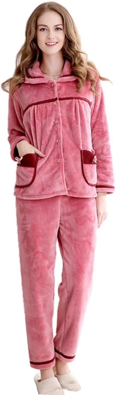 LIVEINU Women's Flannel Sleepwear Long Sleeve Pajamas Set Pink