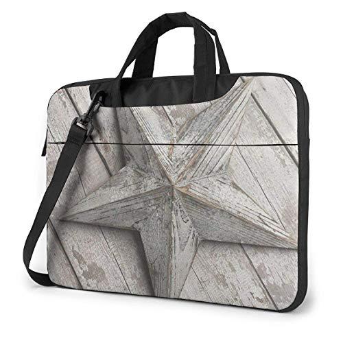 Laptop Shoulder Bag,Western Texas Star On Rustic Old Barn Wood Shockproof Laptop Sleeve Cover Business Messenger Bag Briefcase Handbag Case 15.6 inch