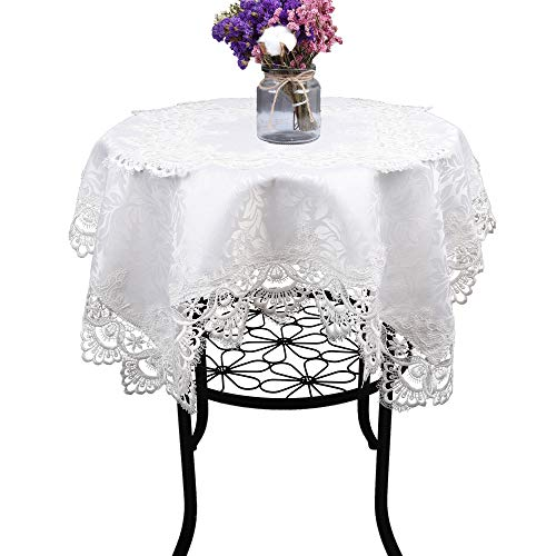 Cream White Small Square lace Tablecloth for Wedding Party Home and Kitchen