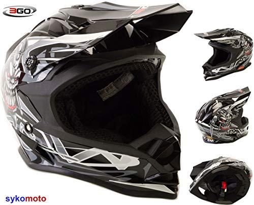 51-52 CM L 3GO X10-K FAMOSO CR/ÁNEO DISE/ÑO NI/ÑOS Y NI/ÑAS MOTOCROSS QUAD ATV DIRT OFF ROAD CASQUE ROJO