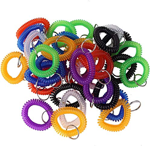Pack of 35 Assorted Color Stretchable Plastic Bracelet Wrist Coil Wrist Band Key Ring Chain Holder Tag (35PCS-7 Mixed Color)