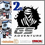 2pcs Dakar GS Adventure Aufkleber R 1200 1150 F 800 650 F700 GS A R1200GS R1200 Motorrad Touratech Motorcycle Givi Trekker Outback Aluminium Panniers SEITENKOFFER Top CASE (Black/Grey)