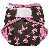 Best Bottom Cloth Diaper Shell-Hook and Loop, Pink Giraffe