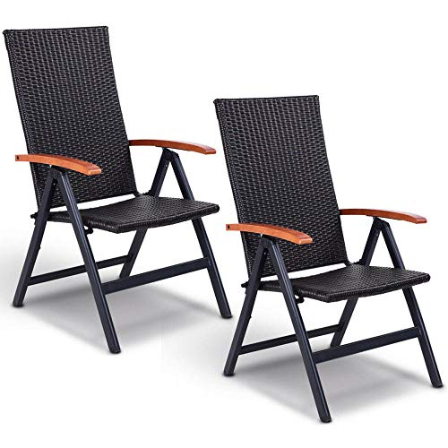 2Pcs Patio Plegable Trasero Ajustable De Aluminio Silla De Ratán Lounge Reclinable Jardín