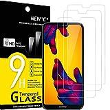 NEW'C 3 Unidades, Protector de Pantalla para Huawei P20 Lite, Nova 3e, Antiarañazos, Antihuellas, Sin Burbujas, Dureza 9H, 0.33 mm Ultra Transparente, Vidrio Templado Ultra Resistente