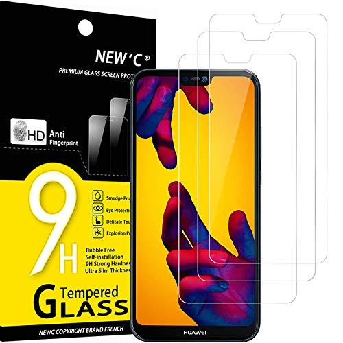 NEW'C 3 Pezzi, Vetro Temperato Compatibile con Huawei P20 Lite, Nova 3e, Pellicola Prottetiva Anti Graffio, Anti-Impronte, Durezza 9H, 0,33mm Ultra Trasparente, Ultra Resistente