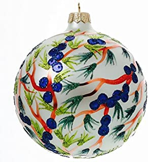 P.W. Wiktoria Christmas Ornament Mouth Blown Hand Painted Blueberry Branch Globe