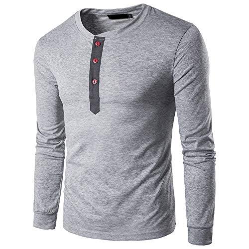 Coloré(TM) Hommes T-Shirt Hoodie Sweatshirt col Rond Encolure Manche Longue Longsleeve Top Basic Shirt Crew Neck Vintage Sweatshirt (M, Gris)