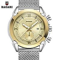QTMIAO 美しいBAGARI時計 BAGARI/新ファッションクォーツウォッチメンズスチールストラップウォッチ (Color : 7)