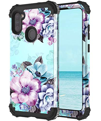 Casetego Compatible with Galaxy A11 Case,Floral Three Layer Heavy Duty Sturdy Shockproof Full Body Protective Cover Case for Samsung Galaxy A11,Blue Flower.
