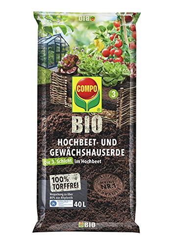 COMPO BIO Hochbeet- und Gewächshauserde für alle Gemüse- und Kräuterpflanzen im Hochbeet, Torffrei, Kultursubstrat, 40 Liter, braun