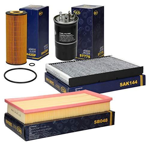 SCT Germany Inspektionspaket Wartungspaket Filterset 1 x Luftfilter 1 x Innenraumfilter mit Aktivkohle 1 x Ölfilter 1 x Kraftstofffilter