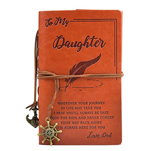 To My Daughter Classic Spiral Bound Leather Journal,Daughter Gift from Dad,Refillable,5'' x 7.2″Writing Notebook Medieval Vintage Style 180 Page Travel Diary Art Sketchbook Gift for Girls,Blank Paper