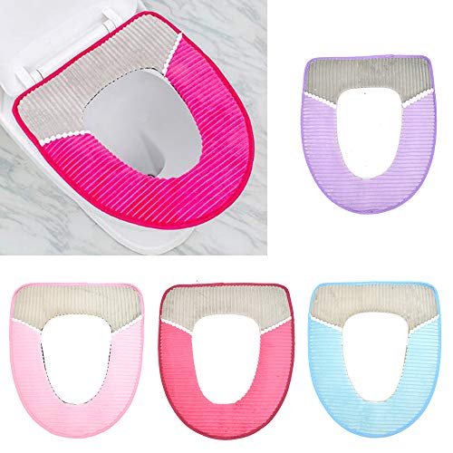 4 Pcs Toilet Seat Cover Pad Thicker Washable Toilet Seat Cushion Mat Winter