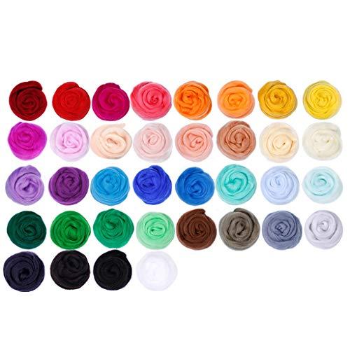 Joocyee Needle Felting Kit 36 Farben Wolle Roving Filz Wolle DIY Filznadeln, handgemachtes DIY Kit Wollfilz, Farbe zufällig