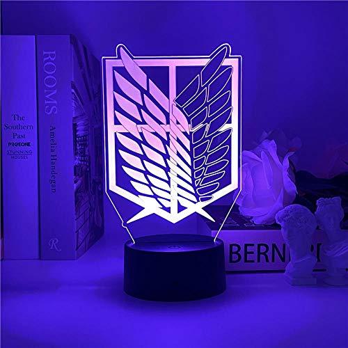 Lámpara de noche 3D Attack on Titan Logo Anime Lámpara LED de luz nocturna para niños dormitorio decoración de cumpleaños regalo juguete Navidad escritorio lámpara de mesa 7 colores tocando
