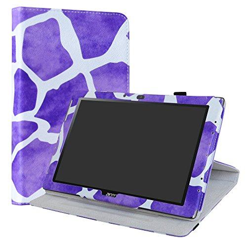Acer Iconia One 10 B3-A40 Rotary Funda,LiuShan Giratoria 360 Grados de Rotación Carcasa con Stand Soporte Caso para 10.1' Acer Iconia One 10 B3-A40 Android Tablet,Giraffe Purple