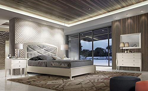 Great Deal! Modern White Finish Solid Wood Queen Size Bed Soflex Valeria