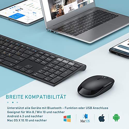 Jelly Comb Dual Bluetooth + 2.4G Funktastatur und Maus Set, Fullsize Wiederaufladbare Slim QWERTZ Tastatur für 3 Geräte - Windows PC/Computer/Laptop/MacOS MacBook/Android Tablet/iOS iPad, Schwarz
