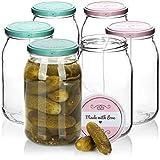 COM-FOUR® 6x bocaux maçon avec bouchon à vis'Made with love' en vert et rose - TO Ø 82 mm - jusqu'à 948 ml
